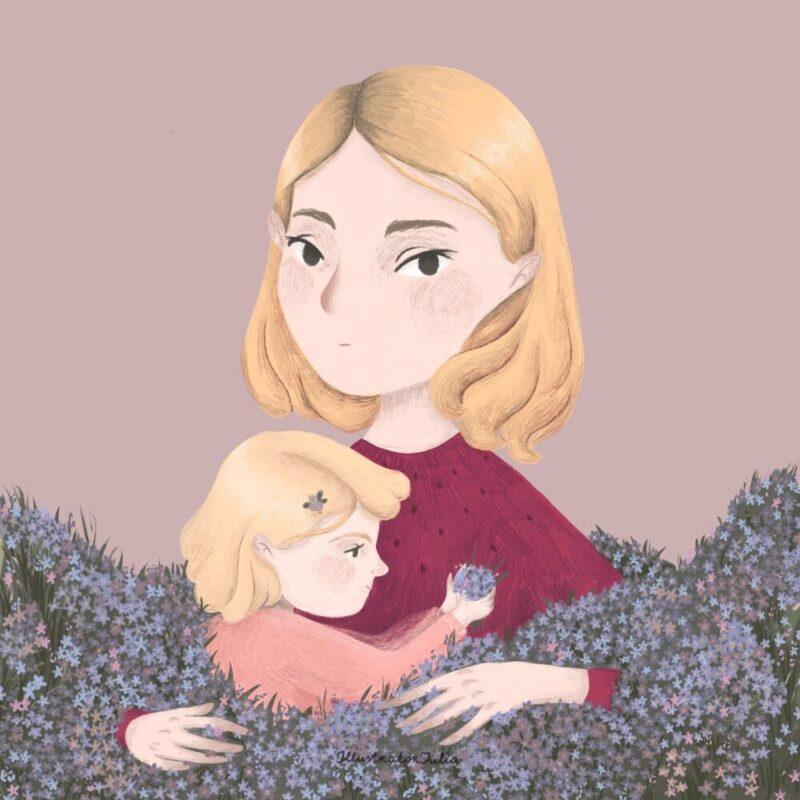 portrait-child-flower-illustration