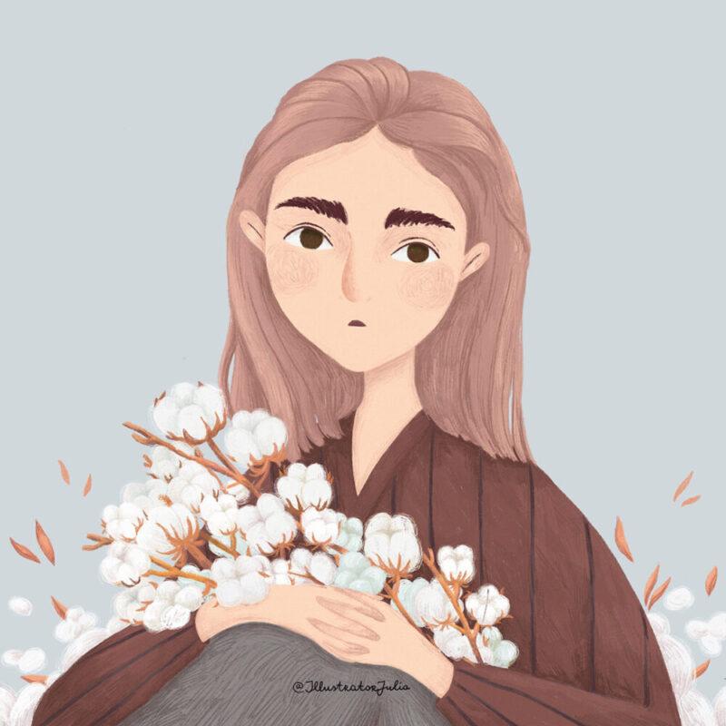 portrait-flower-cotton-illustration