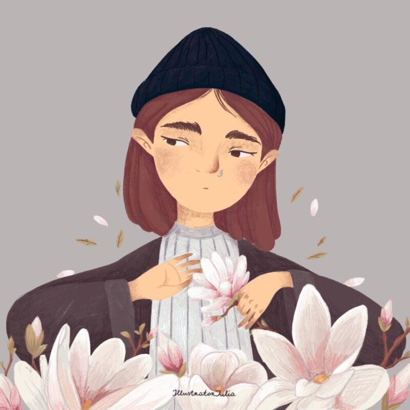 portrait-flower-magnolia-illustration