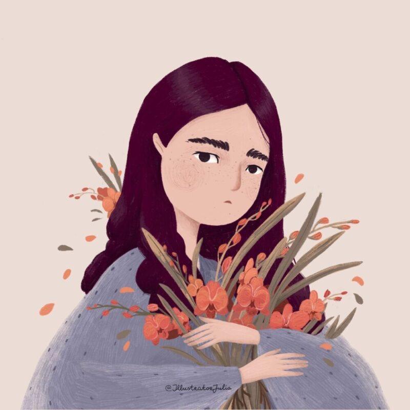 portrait-flower-orchid-illustration
